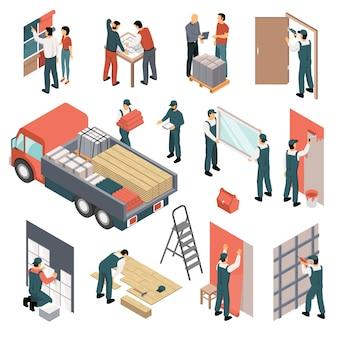 Conjunto de renovación de apartamentos isométricos