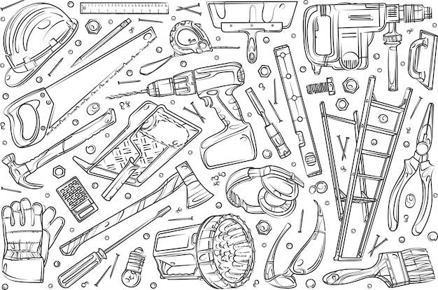 Conjunto de reparación de hogar dibujado a mano doodle fondo