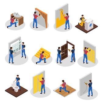 Conjunto de reparación de viviendas isométricas con diferentes trabajadores profesionales y procedimientos de mejora y renovación de viviendas aislados