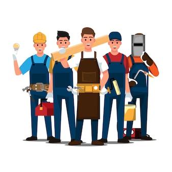 Conjunto de reparador, trabajo en equipo de personas, personaje de dibujos animados de ilustración.