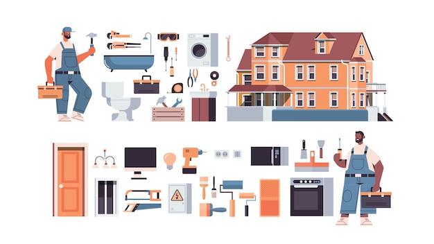 Conjunto de reparadores profesionales de raza mixta en uniforme que hace la renovación de la casa, el mantenimiento del hogar, el concepto de servicio de reparación, la ilustración de vector aislado horizontal de longitud completa