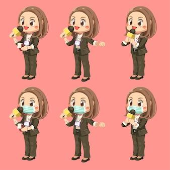 Conjunto de reportera sosteniendo un micrófono para informar la noticia en personaje de dibujos animados, ilustración plana aislada