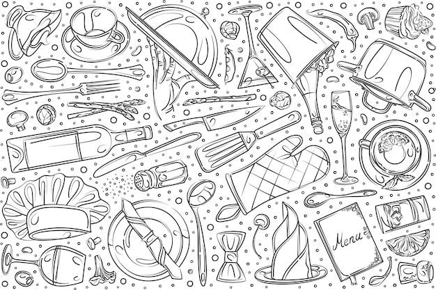 Conjunto de restaurante dibujado a mano doodle fondo