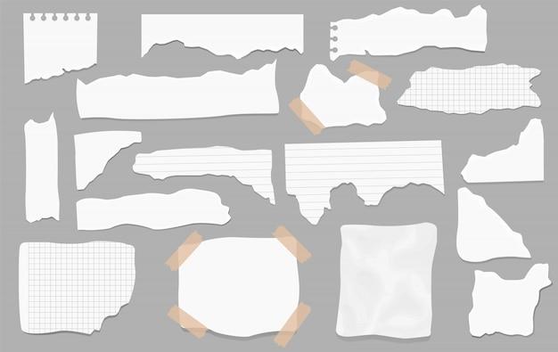 Conjunto de restos de papel de diferentes formas. papeles rotos, trozos de página rotos y trozo de papel de nota de bloc de notas. página de textura, hoja de notas con textura o triturador de cuaderno.