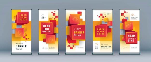 Conjunto de resumen de negocios. standee design. xbanner template