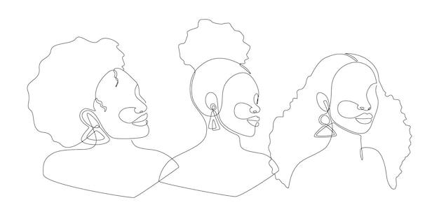 Conjunto de retrato de arte lineal mujeres afroamericanas. rostro de mujer de dibujo de una línea continua