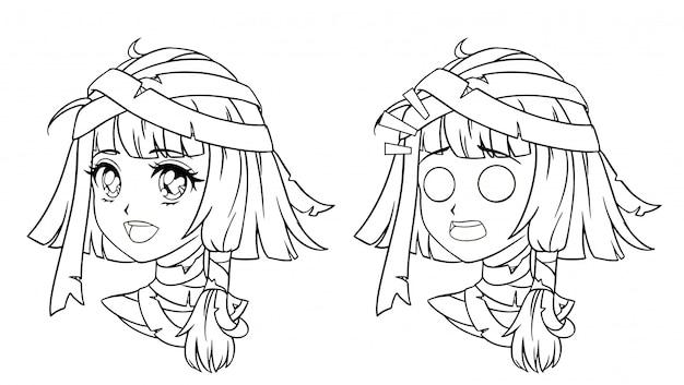 Conjunto de retrato de niña linda momia manga.