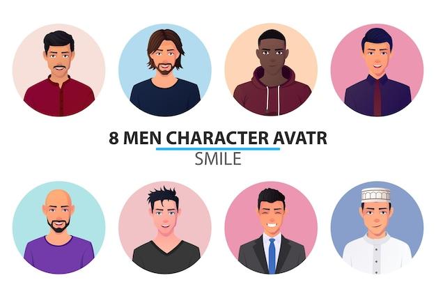 Conjunto de retratos y avatares de hombres diferentes.