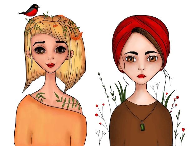 Conjunto de retratos de dibujos animados de niñas en técnica de lápiz y acuarela