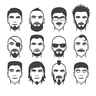 Conjunto de retratos de hombres de estilo de pelo, barba y bigote diferentes de cerca