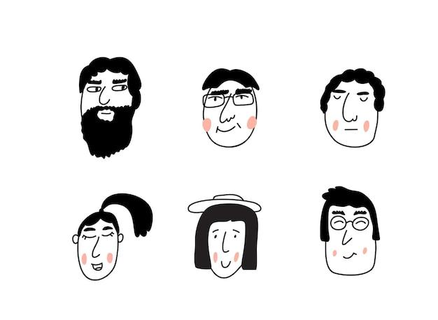 Conjunto de retratos de hombres y mujeres jóvenes con un corte de pelo de moda. ilustración escandinava de un avatar de niños y niñas.