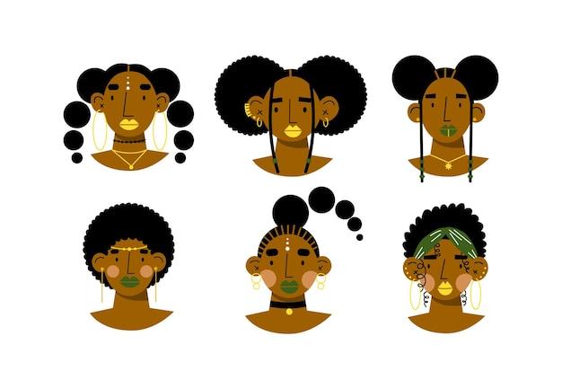 Conjunto de retratos de mujeres africanas avatares de mujeres africanas caras de mujeres hermosas ilustración vectorial plana