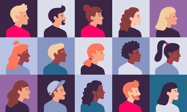 Conjunto de retratos de perfil