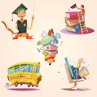 Conjunto retro educación dibujos animados