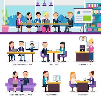 Conjunto de reunión de gente de negocios