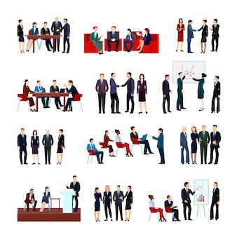 Conjunto de reuniones de negocios de empleados y socios en seminarios informativos de la conferencia.