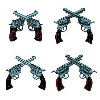 Conjunto de revólveres cruzados sobre fondo blanco. elementos para cartel, emblema, signo. ilustración