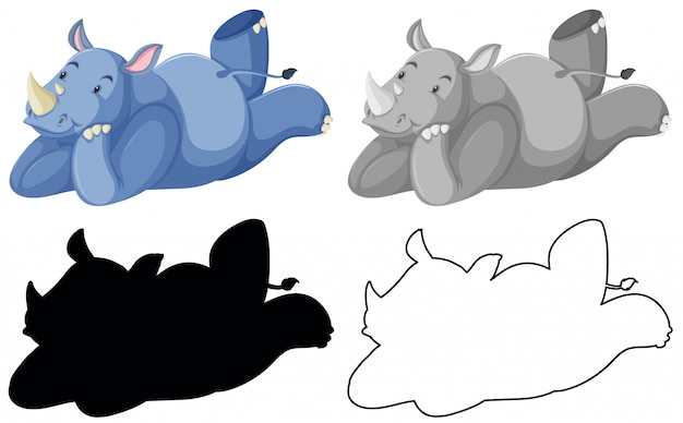 Conjunto de rinocerontes aislados