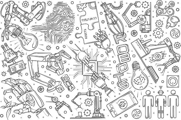 Conjunto de robótica dibujada a mano doodle fondo