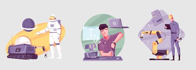 Conjunto de robótica con ilustraciones de personas que ensamblan y controlan robots.