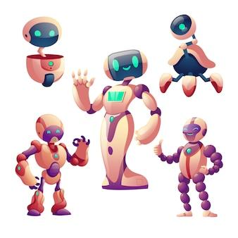 Conjunto de robots, cyborgs humanoides con cara, cuerpo, brazos