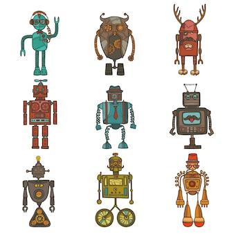 Conjunto de robots hipster