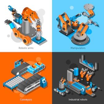 Conjunto de robots industriales
