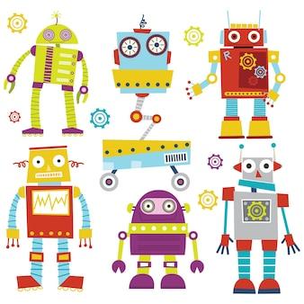 Conjunto de robots lindos divertidos