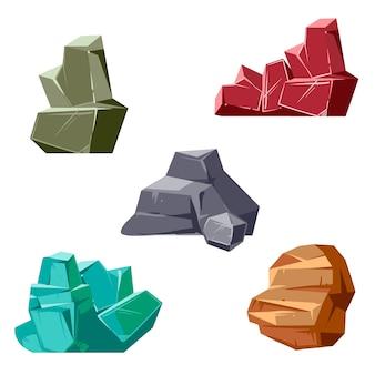 Conjunto de rocas y cristales. estilo isométrico plano 3d de dibujos animados