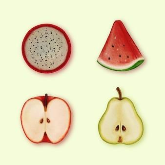 Conjunto de rodajas de fruta realistas