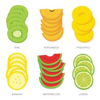Conjunto de rodajas de frutas. elemento aislado de alimentos orgánicos y saludables.