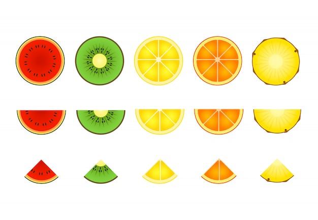 Conjunto de rodajas de frutas tropicales