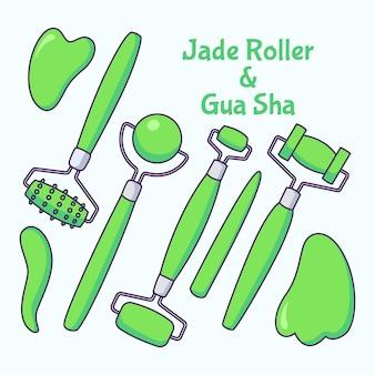 Conjunto de rodillo de jade y gua sha dibujado a mano