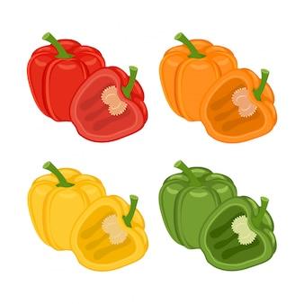 Conjunto de rojo, naranja, verde y amarillo entero y medio pimientos ilustración de verduras aislado en blanco