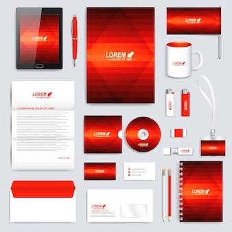 Conjunto rojo de plantilla de identidad corporativa.