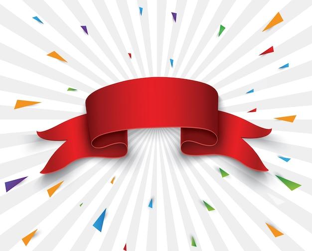 Conjunto, de, rojo, scrolls., bandera, etiqueta, ilustración