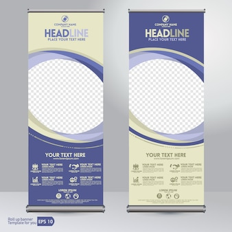 Conjunto de roll up banner template.
