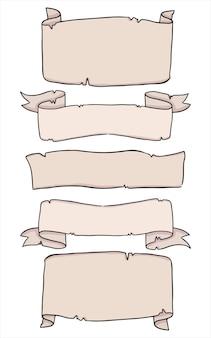 Conjunto de rollos de papel ilustración doodle colección