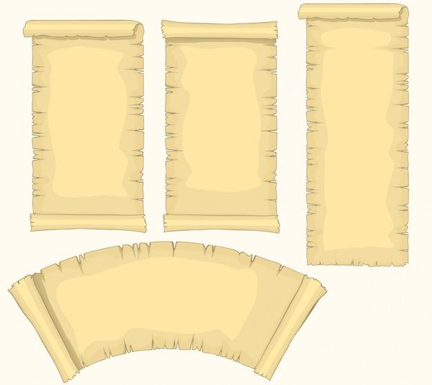 Conjunto de rollos de papiro, rollo de papel en blanco envejecido, manuscrito amarillento medieval, plantilla de diploma o certificado