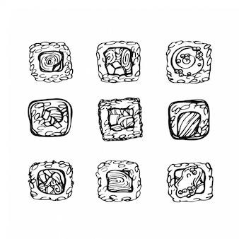 Conjunto de rollos de sushi croquis dibujado a mano. comida japonesa, asiática