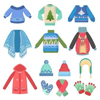 Conjunto de ropa abrigada de invierno. bufanda, gorro de invierno, abrigo y sombreros, chaqueta y guantes. moda de invierno