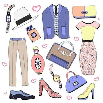 Conjunto de ropa y accesorios de moda. doodles vector boceto iconos para hombre mujer belleza diseño