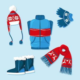 Conjunto de ropa y básicos de invierno