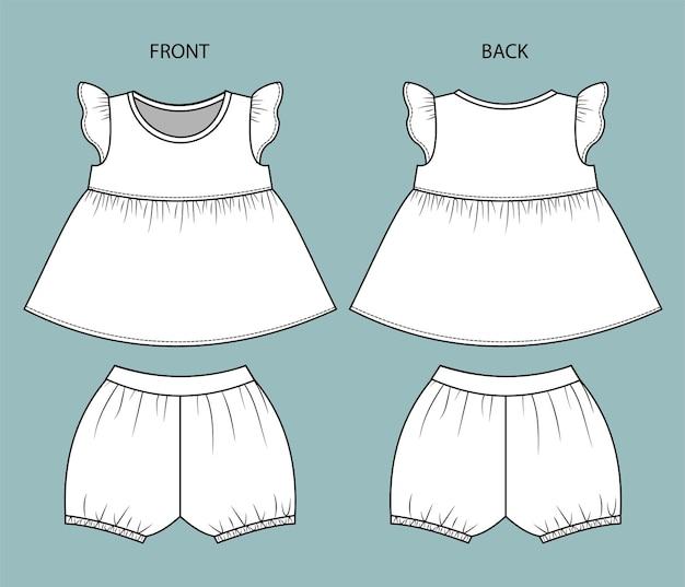 Conjunto de ropa de bebé niña vista frontal y posterior ropa de bebé aislada