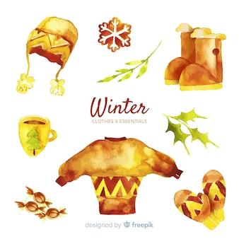 Conjunto de ropa y elementos esenciales de invierno.