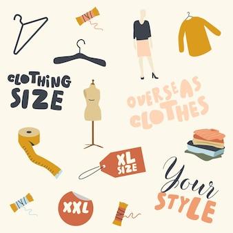 Conjunto de ropa, etiquetas y accesorios de gran tamaño