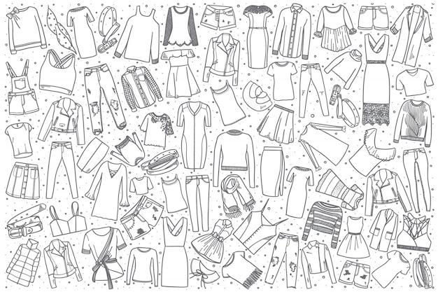 Conjunto de ropa femenina dibujada a mano