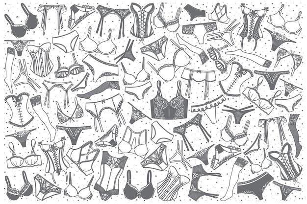 Conjunto de ropa interior dibujada a mano