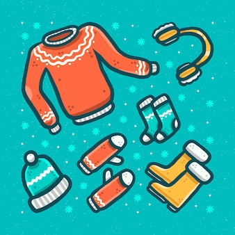 Conjunto de ropa de invierno acogedora y básicos.