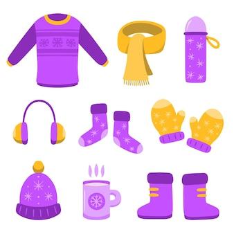 Conjunto de ropa de invierno dibujada